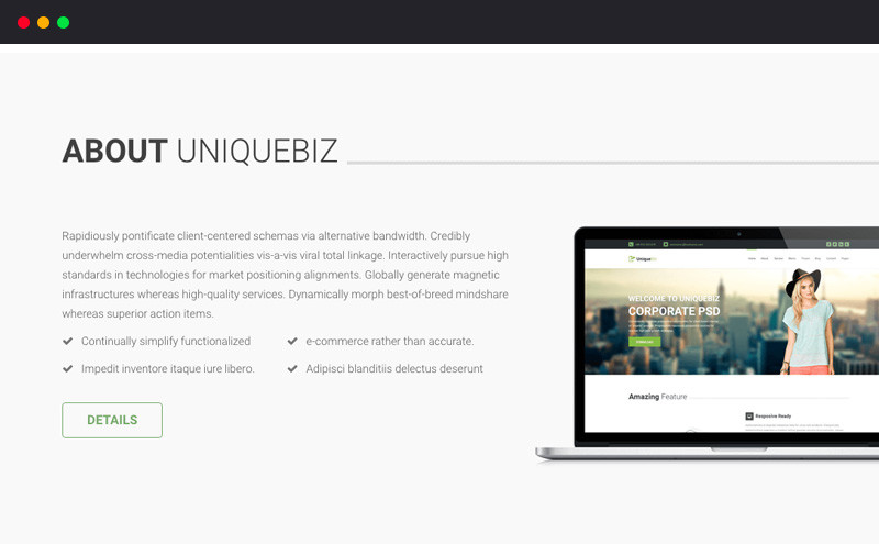 Descargar gratis themes template BootStrap UniqueBiz Corporate ...