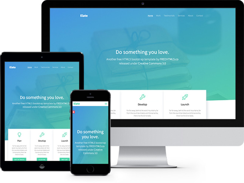 Descargar gratis themes template BootStrap Elate One Page HTML5 ...